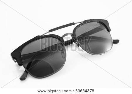 Unisex Black Modern Sunglasses Isolated On White Background