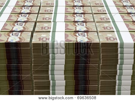 Canadian Dollar Notes Bundles Stack