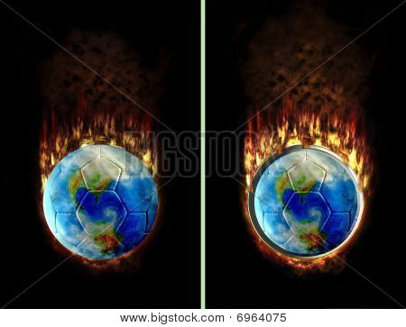 Burning Football Button