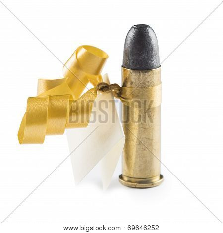 Bullet with a greeting card decorated like a gift and meaning threat isolated on a white background poster