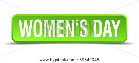 Womens Day Green 3D Realistic Square Isolated Button