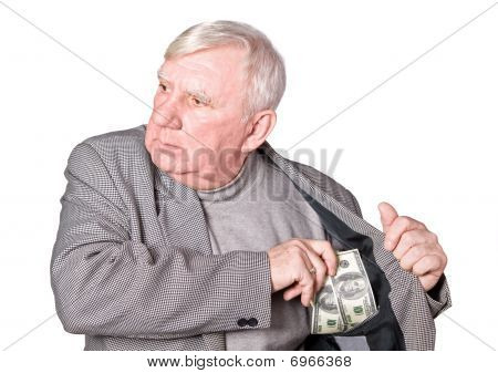 Elderly Man Puts Money In An Internal Pocket Of A Jacket