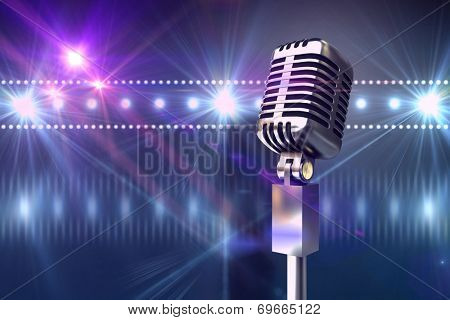Retro chrome microphone against digitally generated nightlife light design poster