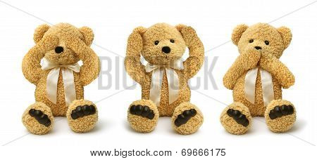 Teddy Bears See Hear Speak No Evil