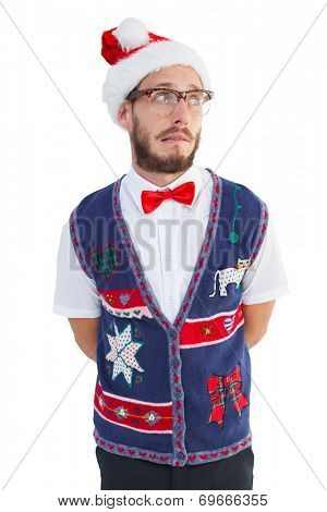 Geeky hipster in santa hat on white background
