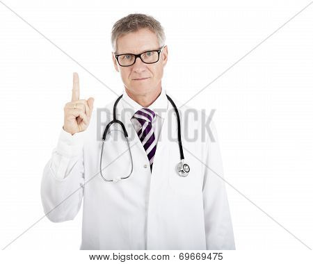 Serious Physician Showing Number One Hand Sign