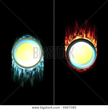 Pressed And Unpressed Fire Icicle Button