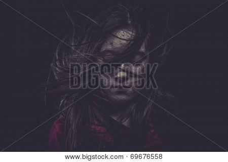 Young girl with hair flying, concept nightmares
