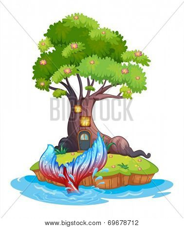 Illustration of a small island with tree house