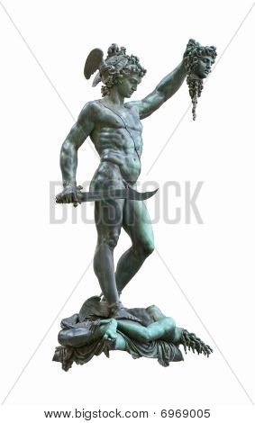 Perseus holding head of Medusa bronze statue created by Benvenuto Cellini in 1554Isolated on white background with clipping path poster