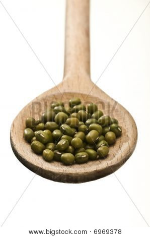 Wooden Spoon With Mung Beans