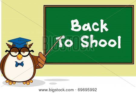 Wise Owl Teacher Cartoon Mascot Character In Front Of School Chalk Board With Text  Illustration Isolated on white poster