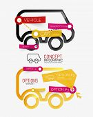 Vector minimal line design car, infographics with tag cloud design on stickers, editable text poster
