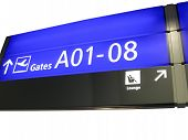 The new airport gate board (blue color) sign with aeroplane boarding direction gate numbers (gateway) for boarding. business travel concept poster