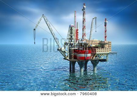 Drilling offshore Platform in sea. 3D image