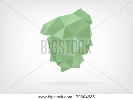 Low Poly map of french region Haue Normandie