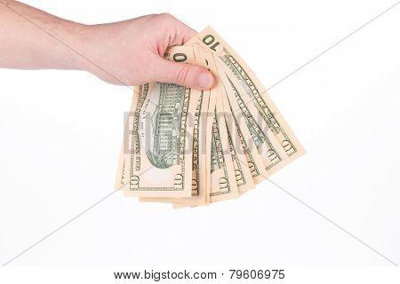 hand holding dollar-bills.