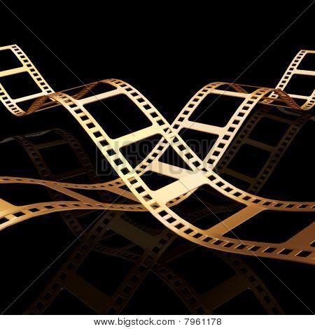 Tow 3d golden Film strip