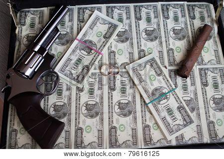 Wedding Rings,gun, Cigar And Money In A Case