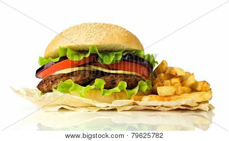Delicious Cheeseburger With French Fries