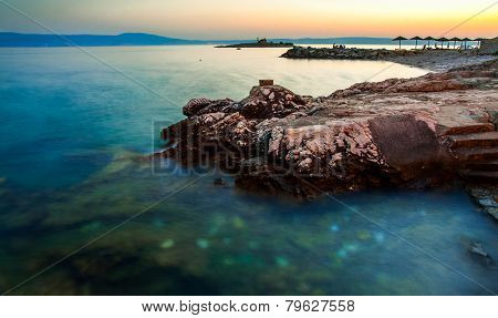 Sunset on Novi Vinodolski beach, Croatia. Long exposure photography