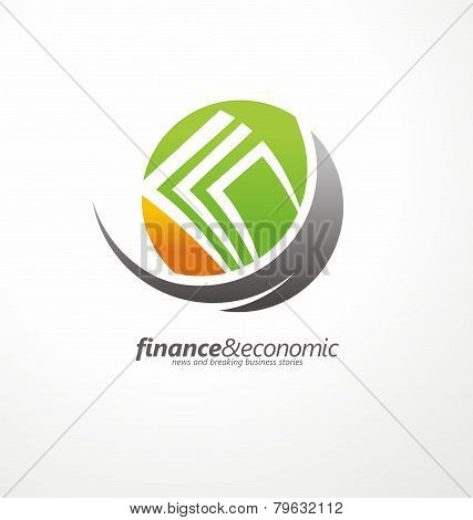 Vector concept for finance  company. Logo design with money in negative space. Business concept. poster