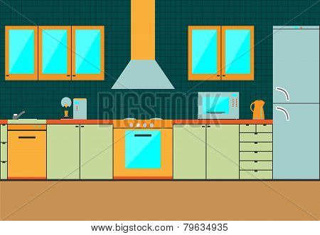 Flat kitchen interior cabinets. Accessories