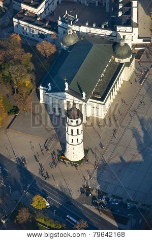 Aerial View of Cathedral Square of Vilnius