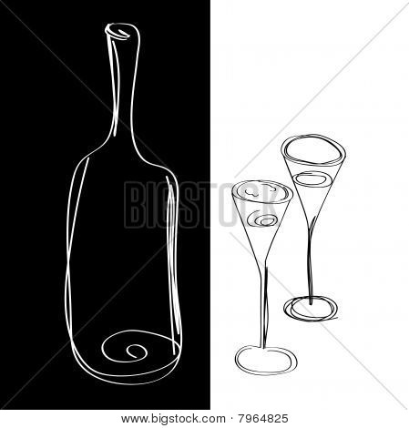 Bottle for wine and  glasses