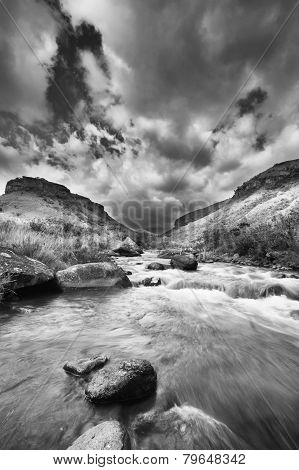 Valley In The Drakensberg Mountain In South Africa And Water Stream Artistic Conversion