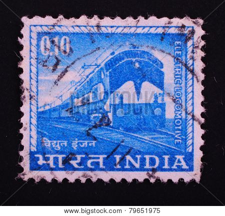 India-circa 1965: Postage Stamp Printed Slaked In India Shows Image Of An Electric Locomotive