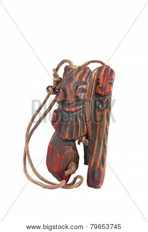 Wooden Pendant Amulet In The Form Of An Inseparable Pair Of Men And Women