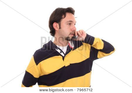 Casual Man Talking On A Mobile Phone