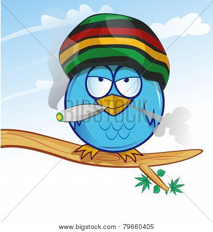 Jamaican Owl Cartoon On Sky  Background