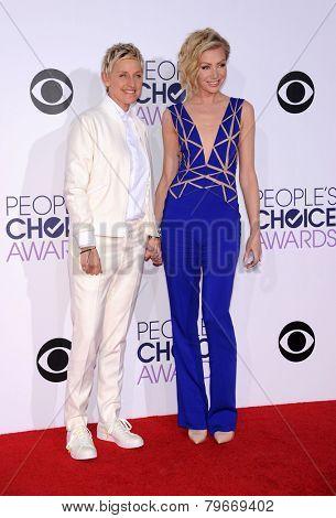 LOS ANGELES - JAN 07:  Ellen DeGeneres & Portia De Rossi arrives to the People's Choice Awards 2014  on January 7, 2015 in Los Angeles, CA