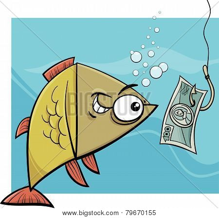 Fishing With Money Cartoon Illustration
