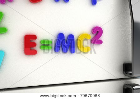 The mass - energy equivalence written on a refrigerator door with magnet letters
