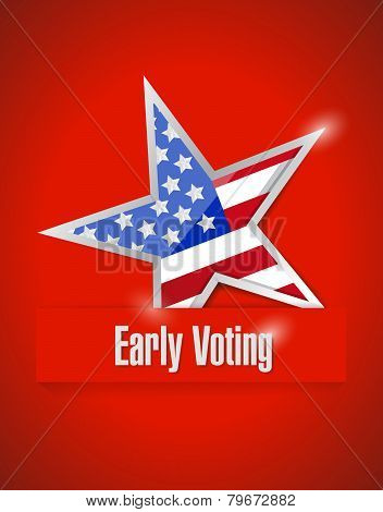 Us Early Voting Patriotic Illustration