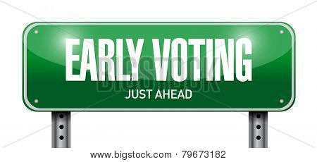 Early Voting Road Sign Illustration Design