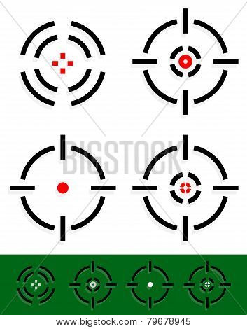 Crosshair, Reticle, Target Mark Set. 4 Different Cross-hairs.