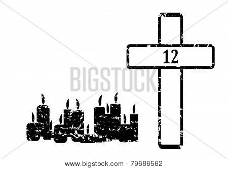 Black Cross With 12 Candles