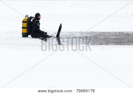 Diver Ice Cold Water