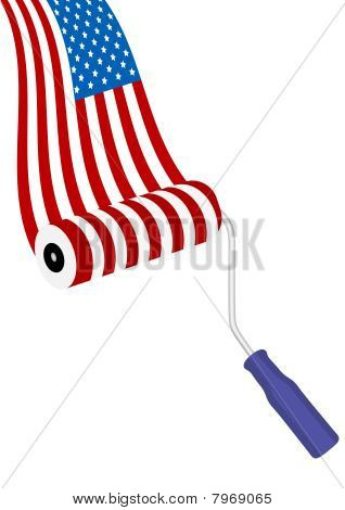 Conceptual illustration with American flag