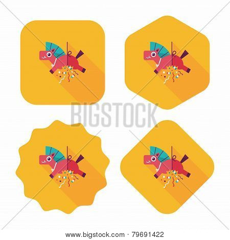 Horse Confetti Flat Icon With Long Shadow,eps10