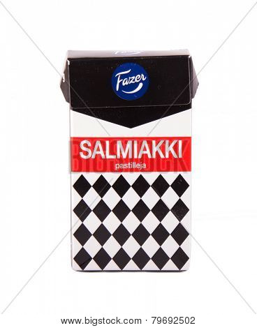 DEPEW, OK, USA - January 8th, 2015: Photo of a 260g box of Salmiakki liquorice candy made by Fazer. Fazer is one of the largest corporations in Finnish food industry.