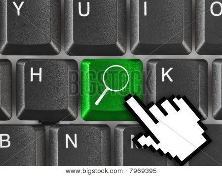 Computertoetsenbord met zoekbegrip