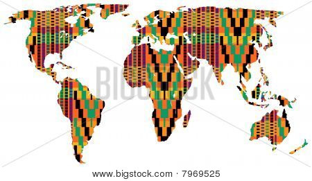 African Adinkra pattern map of the world