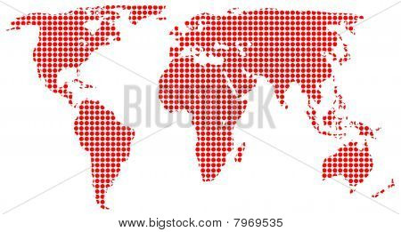 Red dots on white map of the world