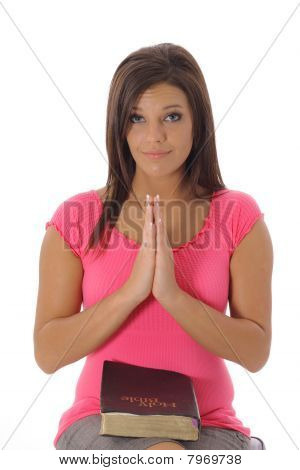 brunette praying