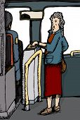 Woman paying bus fare over isolated windows poster
